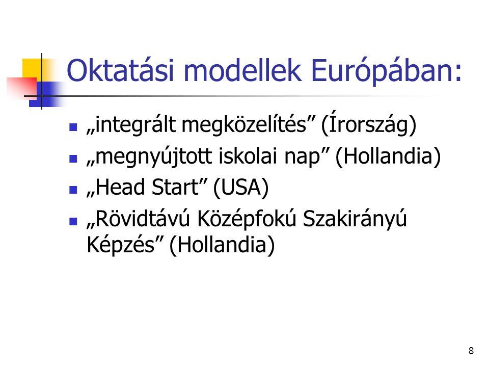 """8 Oktatási modellek Európában: """"integrált megközelítés (Írország) """"megnyújtott iskolai nap (Hollandia) """"Head Start (USA) """"Rövidtávú Középfokú Szakirányú Képzés (Hollandia)"""