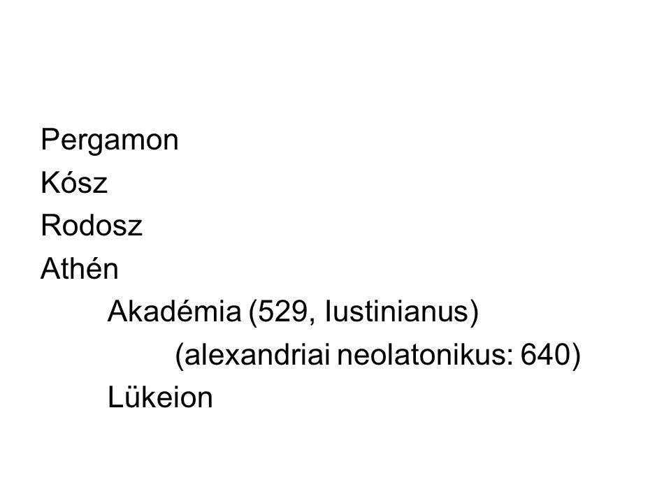 Pergamon Kósz Rodosz Athén Akadémia (529, Iustinianus) (alexandriai neolatonikus: 640) Lükeion