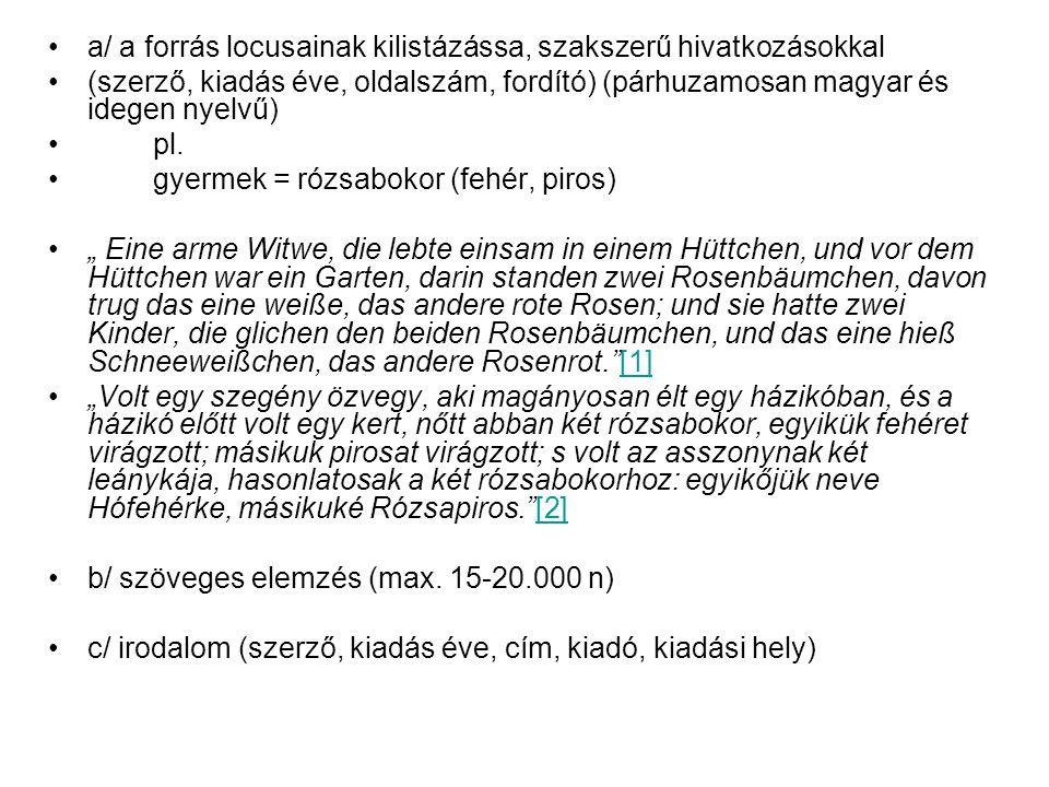 a/ a forrás locusainak kilistázássa, szakszerű hivatkozásokkal (szerző, kiadás éve, oldalszám, fordító) (párhuzamosan magyar és idegen nyelvű) pl.