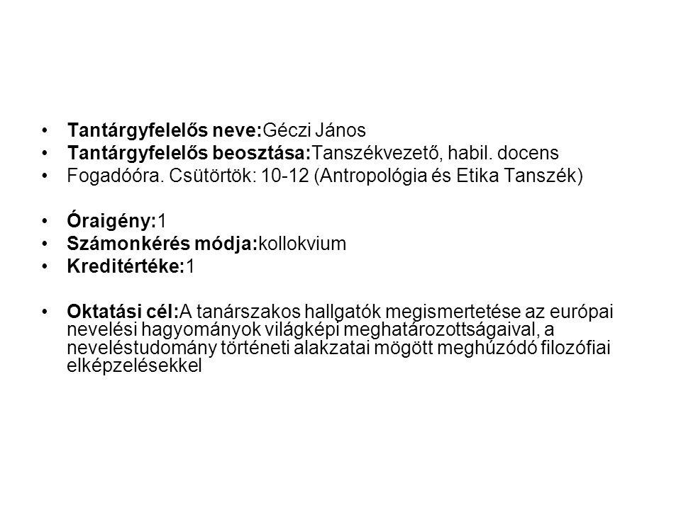 Tantárgyfelelős neve:Géczi János Tantárgyfelelős beosztása:Tanszékvezető, habil.