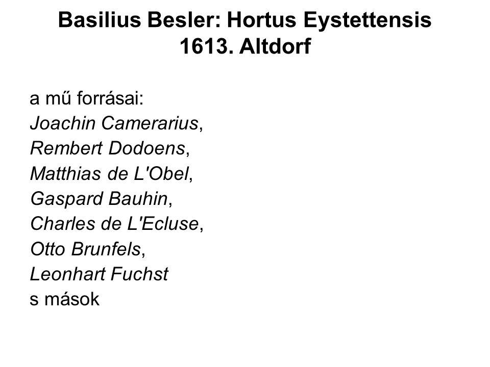 a mű forrásai: Joachin Camerarius, Rembert Dodoens, Matthias de L Obel, Gaspard Bauhin, Charles de L Ecluse, Otto Brunfels, Leonhart Fuchst s mások Basilius Besler: Hortus Eystettensis 1613.