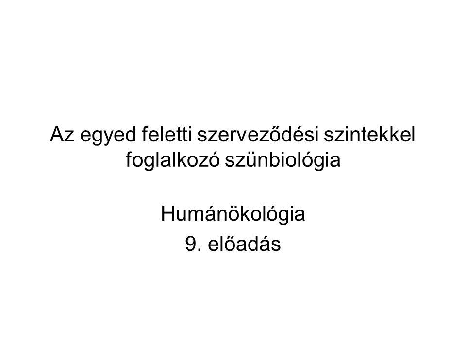Az egyed feletti szerveződési szintekkel foglalkozó szünbiológia Humánökológia 9. előadás