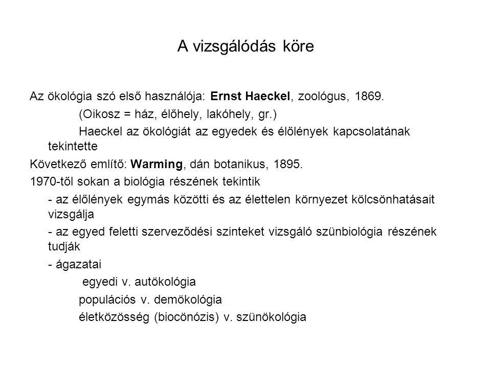 A vizsgálódás köre Az ökológia szó első használója: Ernst Haeckel, zoológus, 1869. (Oikosz = ház, élőhely, lakóhely, gr.) Haeckel az ökológiát az egye