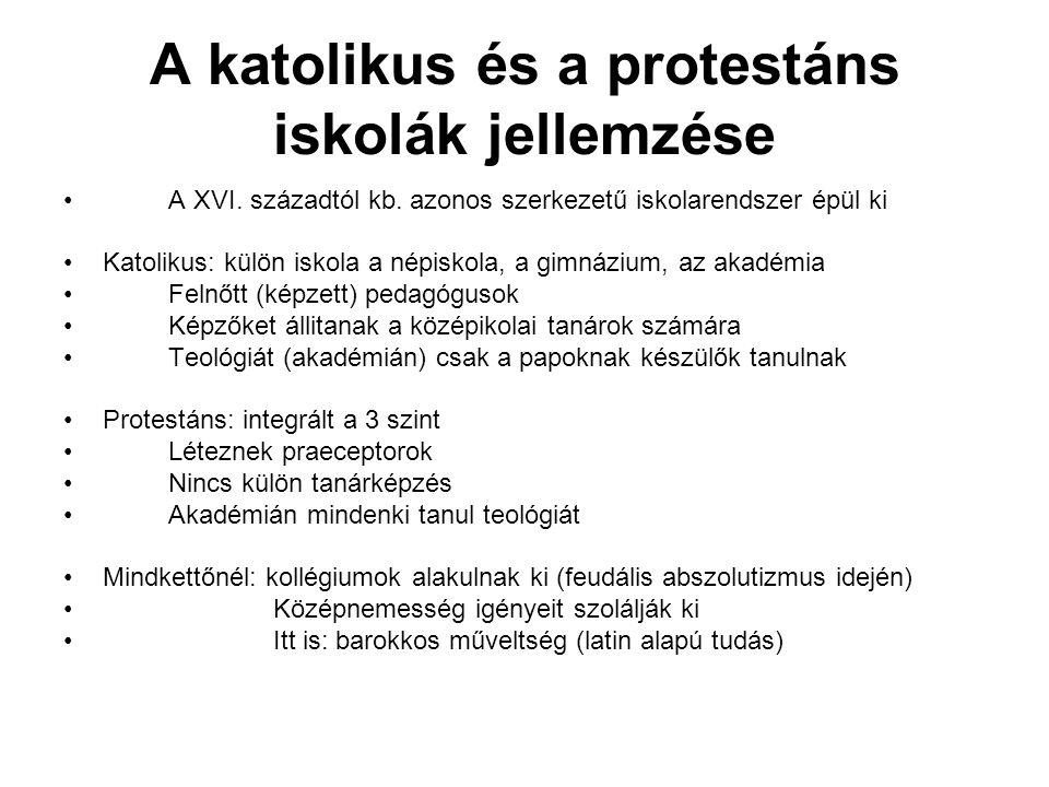 A katolikus és a protestáns iskolák jellemzése A XVI.
