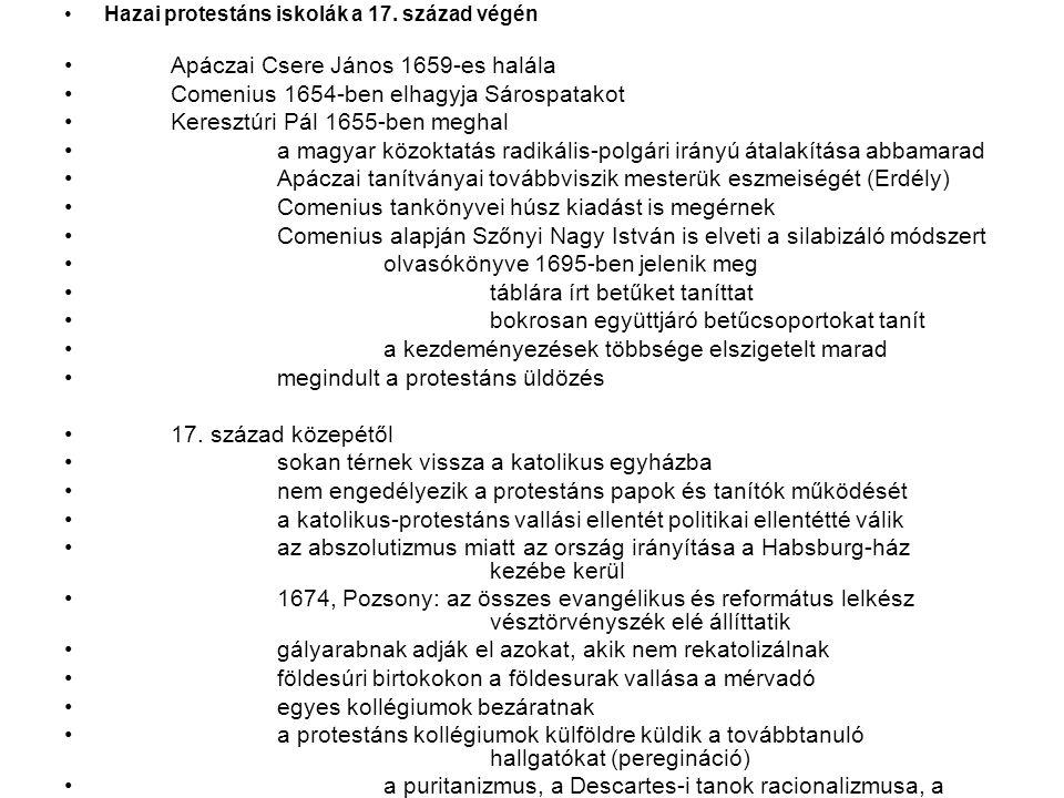 Hazai protestáns iskolák a 17.