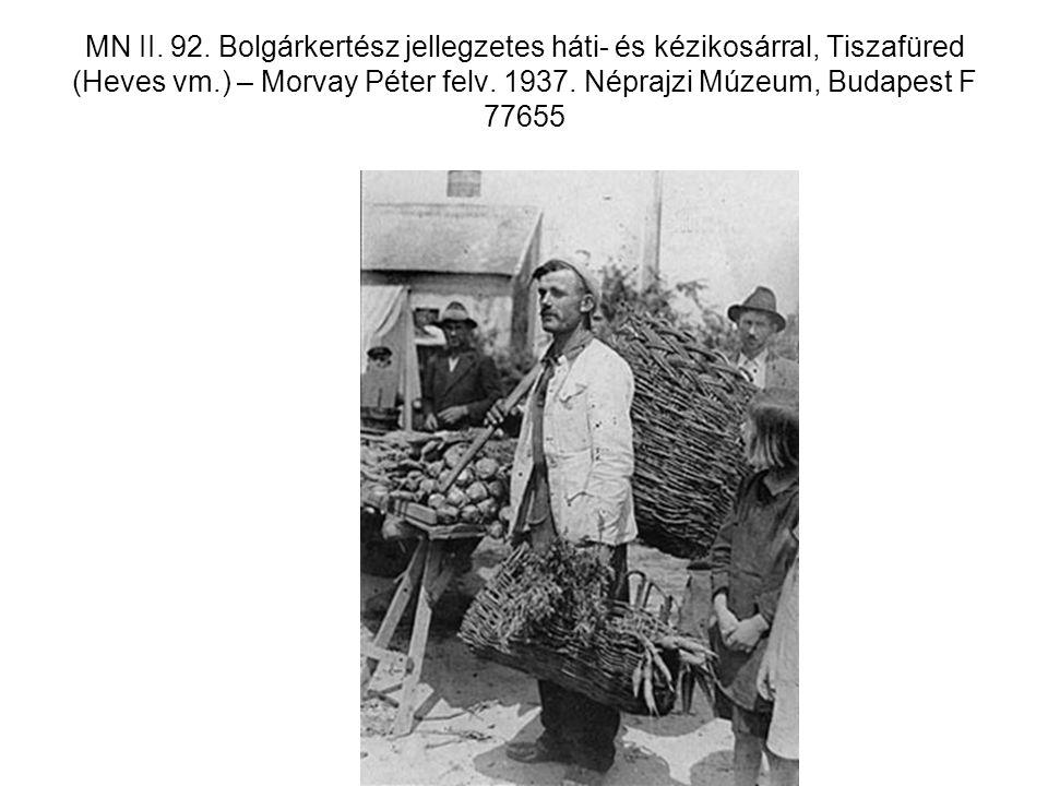 MN II. 92. Bolgárkertész jellegzetes háti- és kézikosárral, Tiszafüred (Heves vm.) – Morvay Péter felv. 1937. Néprajzi Múzeum, Budapest F 77655