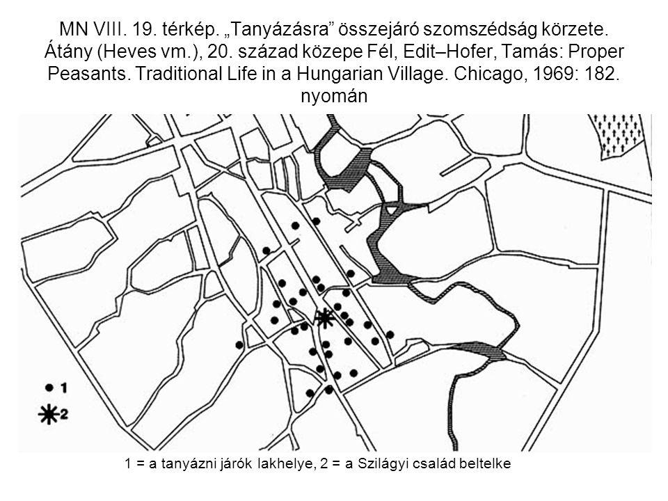 """MN VIII. 19. térkép. """"Tanyázásra"""" összejáró szomszédság körzete. Átány (Heves vm.), 20. század közepe Fél, Edit–Hofer, Tamás: Proper Peasants. Traditi"""