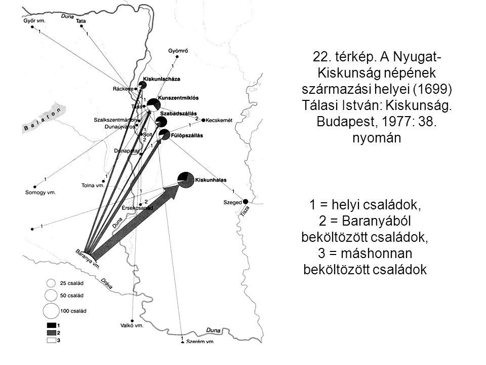 22. térkép. A Nyugat- Kiskunság népének származási helyei (1699) Tálasi István: Kiskunság. Budapest, 1977: 38. nyomán 1 = helyi családok, 2 = Baranyáb
