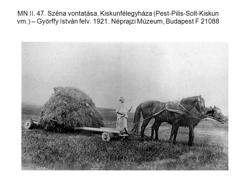MN II. 47. Széna vontatása, Kiskunfélegyháza (Pest-Pilis-Solt-Kiskun vm.) – Györffy István felv. 1921. Néprajzi Múzeum, Budapest F 21088