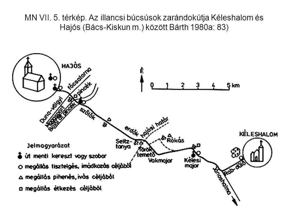 MN VII. 5. térkép. Az illancsi búcsúsok zarándokútja Kéleshalom és Hajós (Bács-Kiskun m.) között Bárth 1980a: 83)