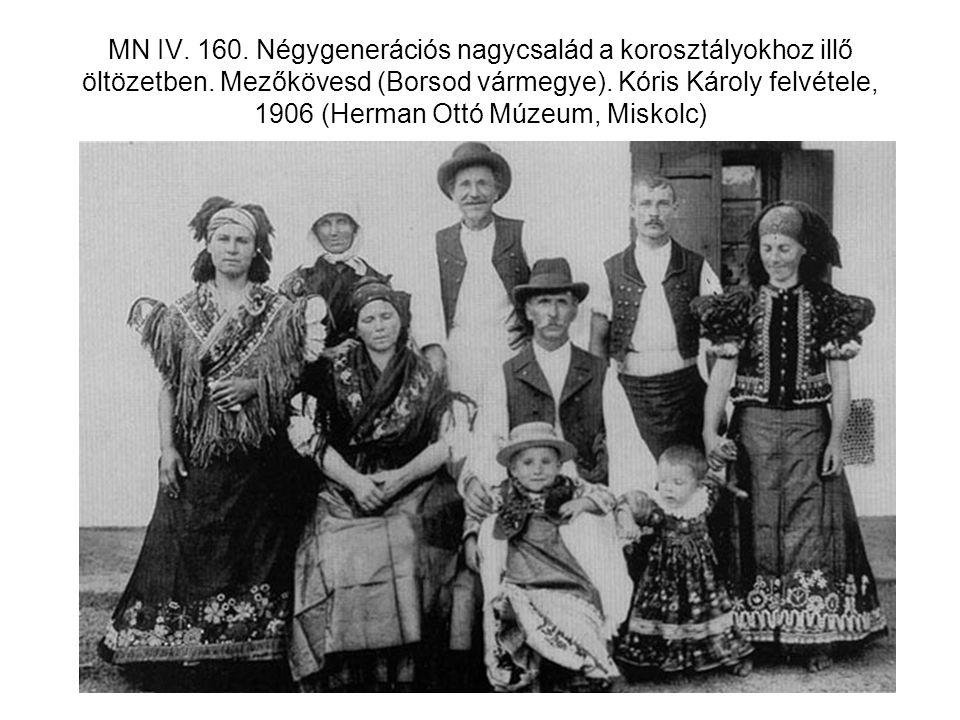 MN IV. 160. Négygenerációs nagycsalád a korosztályokhoz illő öltözetben. Mezőkövesd (Borsod vármegye). Kóris Károly felvétele, 1906 (Herman Ottó Múzeu