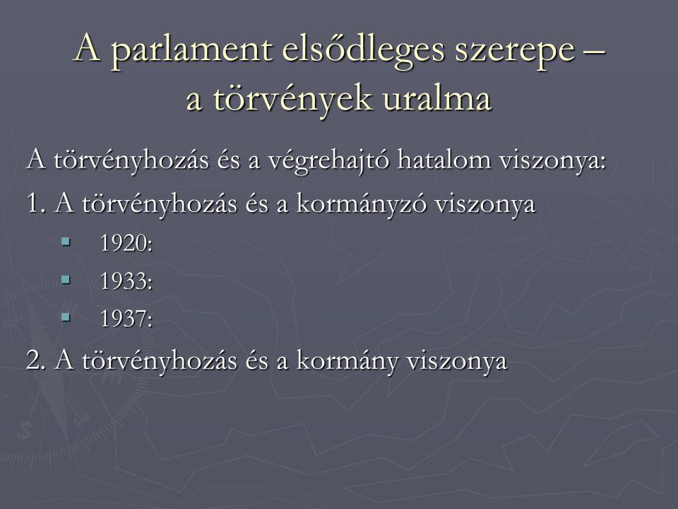 A parlament elsődleges szerepe – a törvények uralma A törvényhozás és a végrehajtó hatalom viszonya: 1.