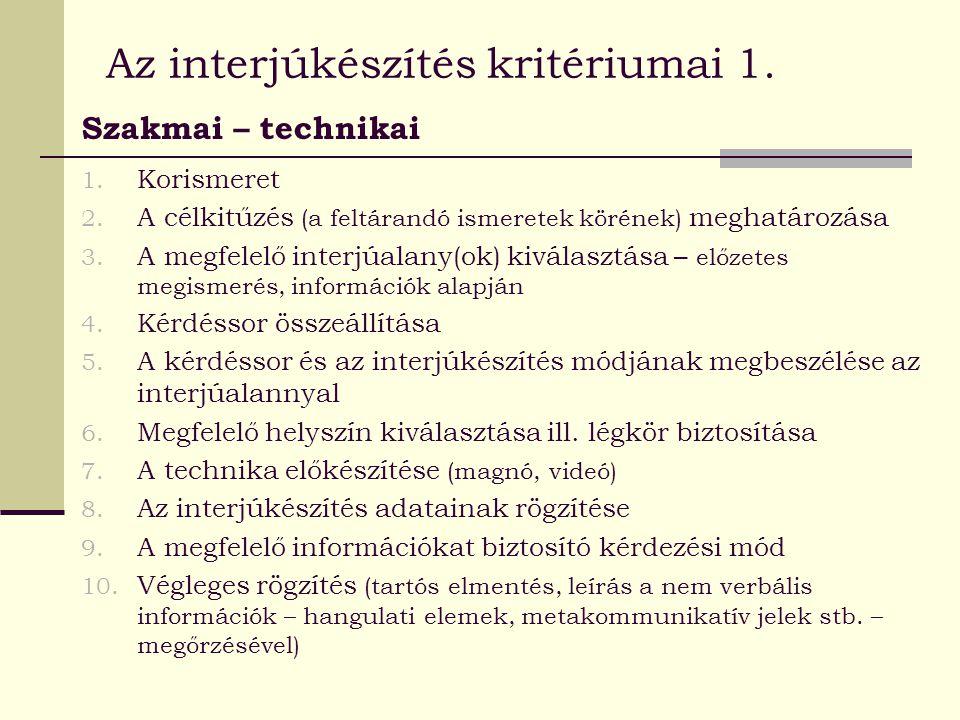 Az interjúkészítés kritériumai 1. Szakmai – technikai 1. Korismeret 2. A célkitűzés (a feltárandó ismeretek körének) meghatározása 3. A megfelelő inte