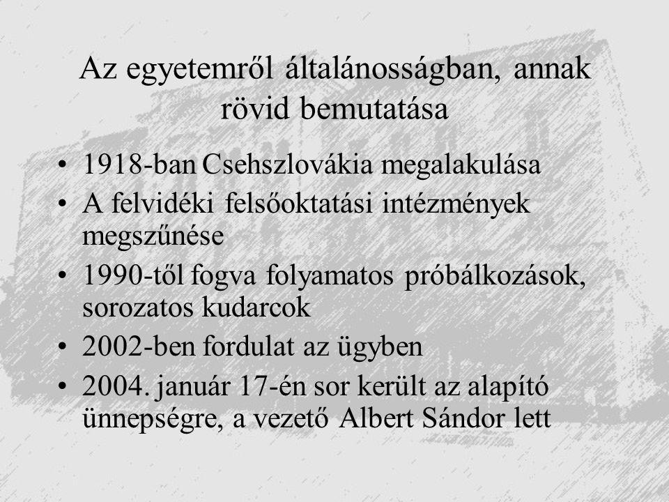 Az egyetemről általánosságban, annak rövid bemutatása 1918-ban Csehszlovákia megalakulása A felvidéki felsőoktatási intézmények megszűnése 1990-től fo