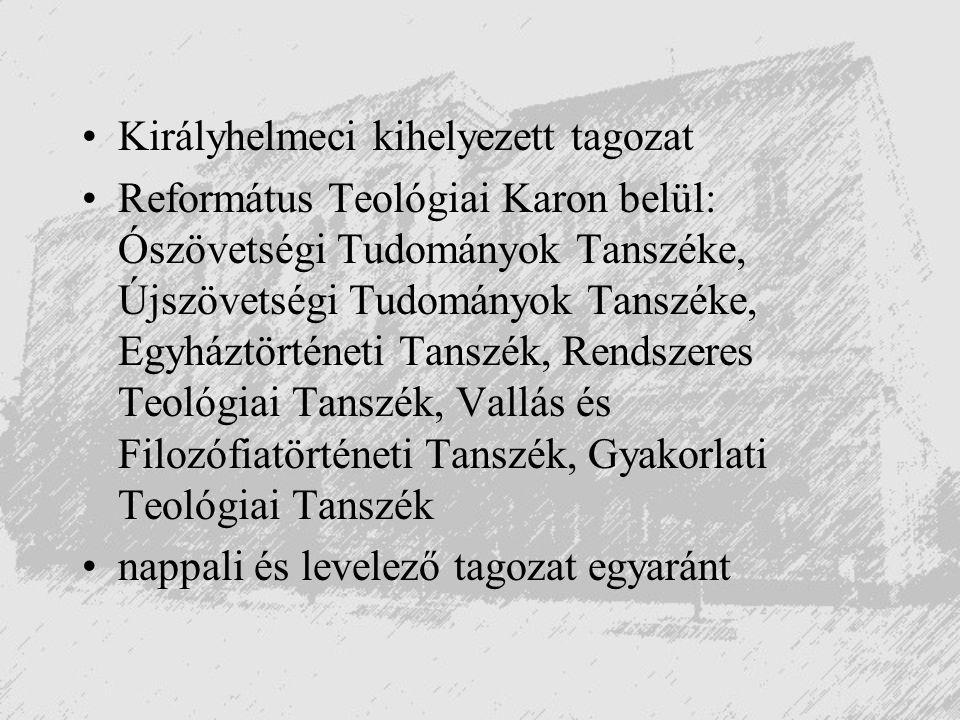 Királyhelmeci kihelyezett tagozat Református Teológiai Karon belül: Ószövetségi Tudományok Tanszéke, Újszövetségi Tudományok Tanszéke, Egyháztörténeti
