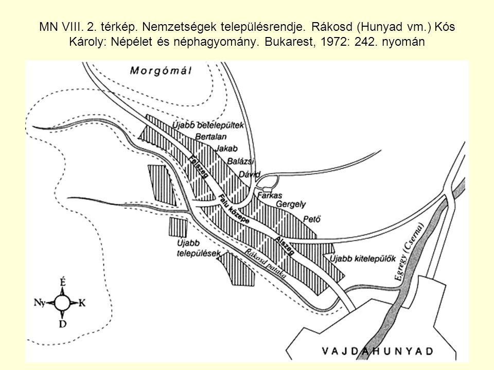 MN VIII.2. térkép. Nemzetségek településrendje.