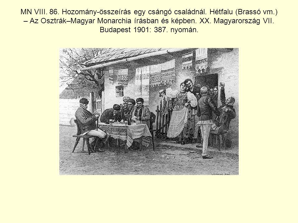 MN VIII.86. Hozomány-összeírás egy csángó családnál.