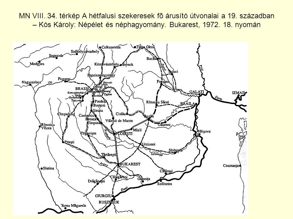 MN VIII.34. térkép A hétfalusi szekeresek fõ árusító útvonalai a 19.