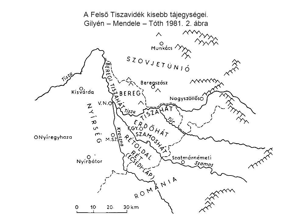 A Felső Tiszavidék kisebb tájegységei. Gilyén – Mendele – Tóth 1981. 2. ábra