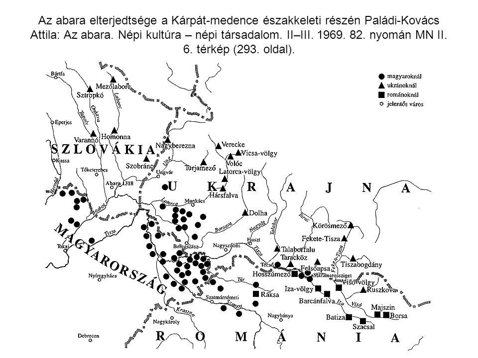 Az abara elterjedtsége a Kárpát-medence északkeleti részén Paládi-Kovács Attila: Az abara. Népi kultúra – népi társadalom. II–III. 1969. 82. nyomán MN