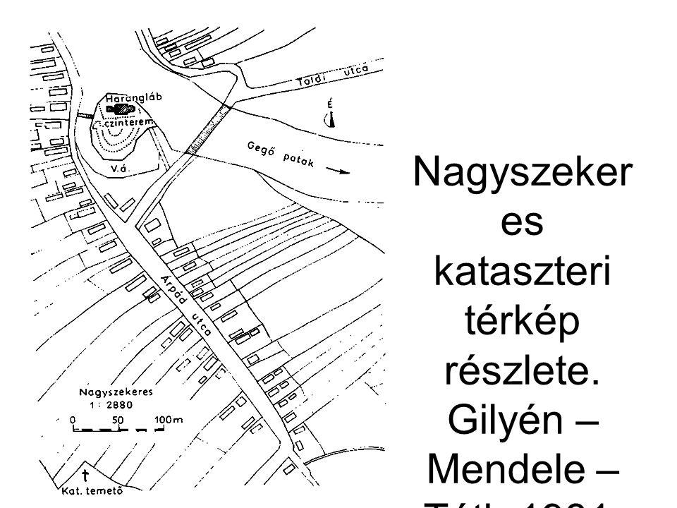 Nagyszeker es kataszteri térkép részlete. Gilyén – Mendele – Tóth 1981. 15. ábra.