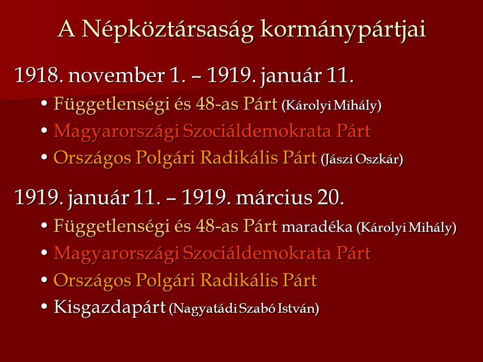 A Népköztársaság kormánypártjai 1918. november 1. – 1919. január 11. Függetlenségi és 48-as Párt (Károlyi Mihály)Függetlenségi és 48-as Párt (Károlyi