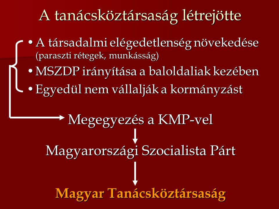 A tanácsköztársaság létrejötte A társadalmi elégedetlenség növekedése (paraszti rétegek, munkásság)A társadalmi elégedetlenség növekedése (paraszti ré