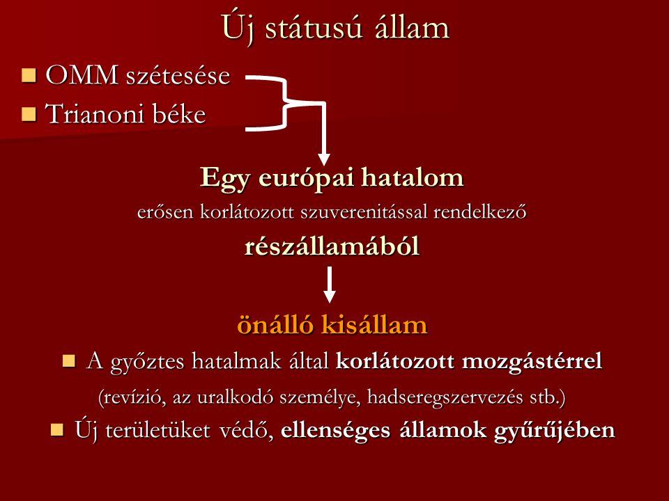 Új státusú állam OMM szétesése OMM szétesése Trianoni béke Trianoni béke Egy európai hatalom erősen korlátozott szuverenitással rendelkező részállamáb