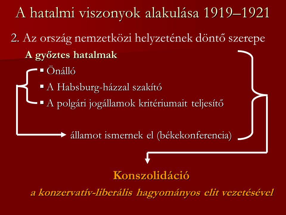 A hatalmi viszonyok alakulása 1919–1921 2. 2. Az ország nemzetközi helyzetének döntő szerepe A győztes hatalmak  Önálló  A Habsburg-házzal szakító 