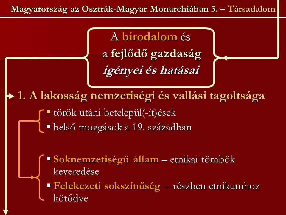 Magyarország az Osztrák-Magyar Monarchiában 3. – Társadalom A birodalom és a fejlődő gazdaság a fejlődő gazdaság igényei és hatásai 1. A lakosság nemz