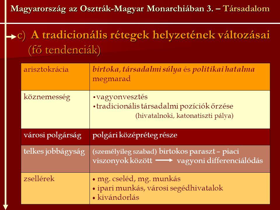 Magyarország az Osztrák-Magyar Monarchiában 3. – Társadalom c) A tradicionális rétegek helyzetének változásai (fő tendenciák) arisztokrácia birtoka, t