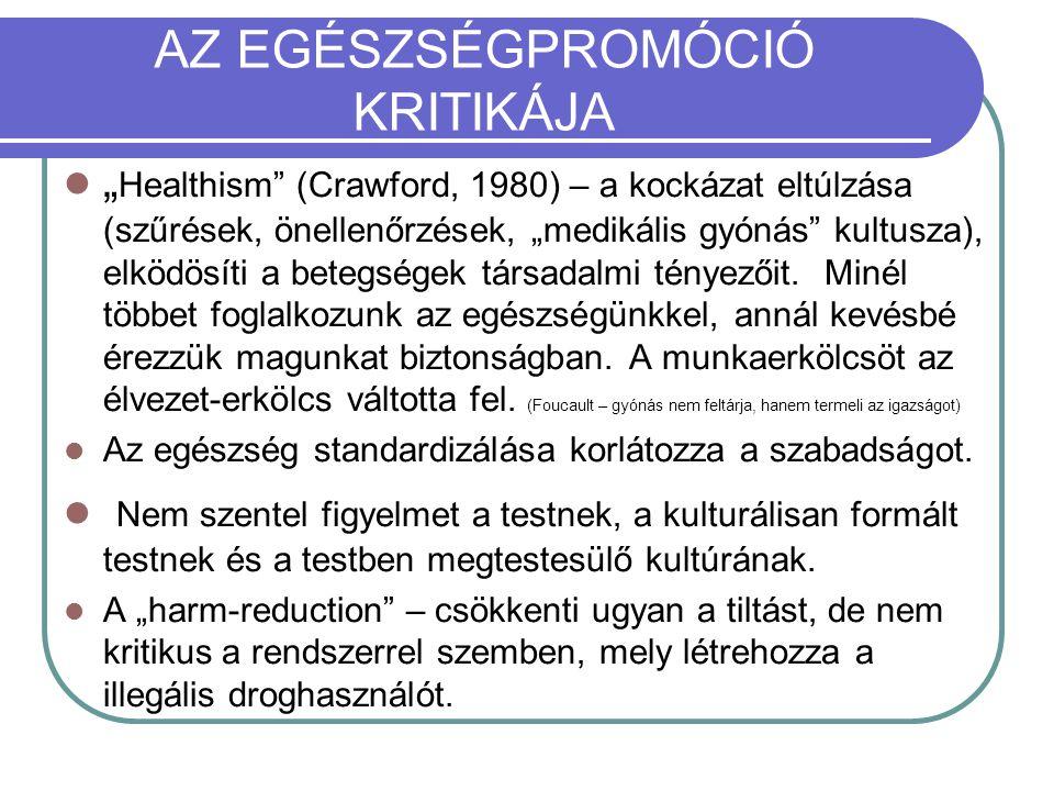 """AZ EGÉSZSÉGPROMÓCIÓ KRITIKÁJA """" Healthism"""" (Crawford, 1980) – a kockázat eltúlzása (szűrések, önellenőrzések, """"medikális gyónás"""" kultusza), elködösíti"""