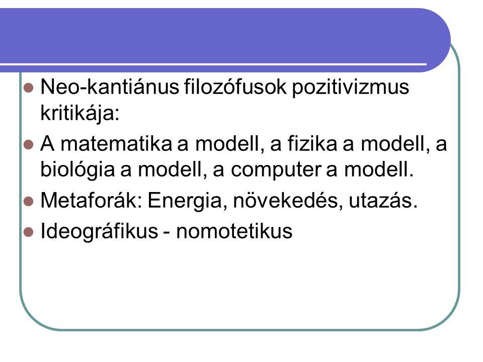 Neo-kantiánus filozófusok pozitivizmus kritikája: A matematika a modell, a fizika a modell, a biológia a modell, a computer a modell. Metaforák: Energ