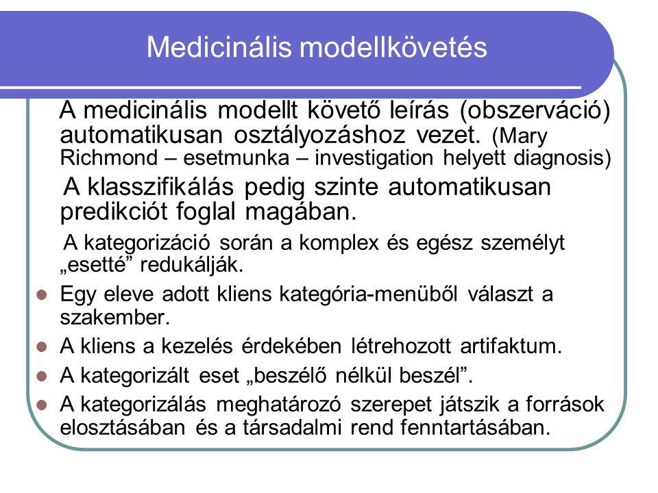 Medicinális modellkövetés A medicinális modellt követő leírás (obszerváció) automatikusan osztályozáshoz vezet. (Mary Richmond – esetmunka – investiga