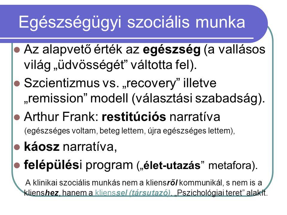 """Egészségügyi szociális munka Az alapvető érték az egészség (a vallásos világ """"üdvösségét"""" váltotta fel). Szcientizmus vs. """"recovery"""" illetve """"remissio"""
