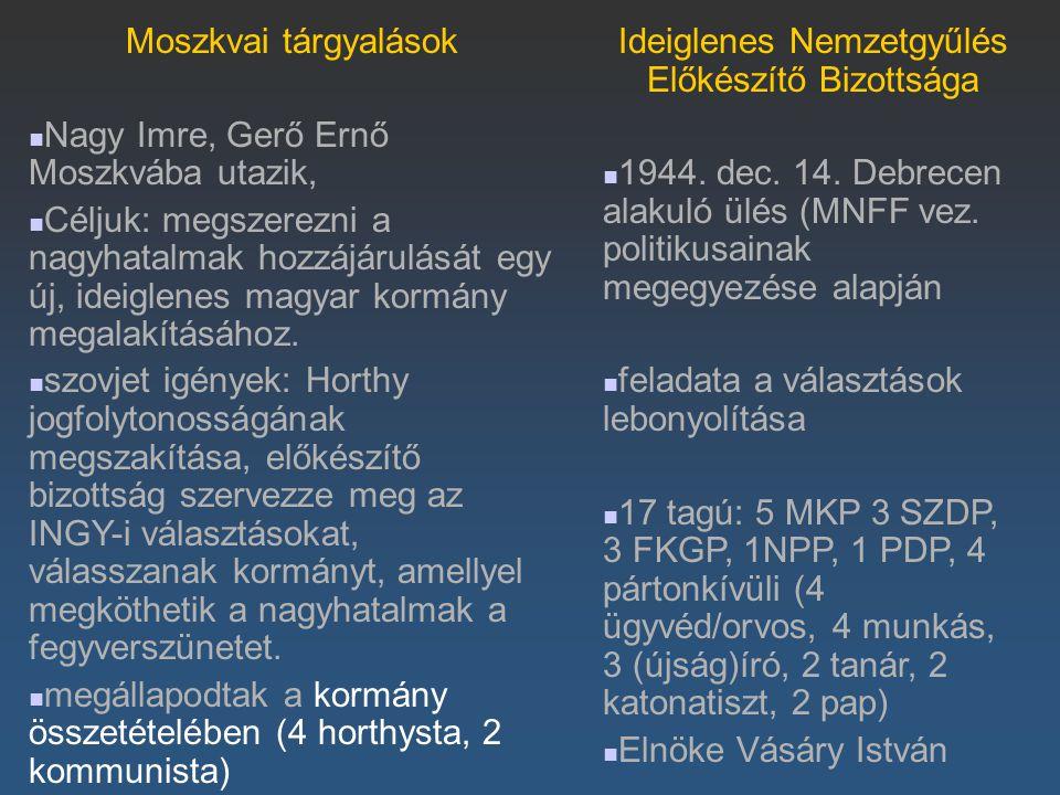 Moszkvai tárgyalások Nagy Imre, Gerő Ernő Moszkvába utazik, Céljuk: megszerezni a nagyhatalmak hozzájárulását egy új, ideiglenes magyar kormány megala