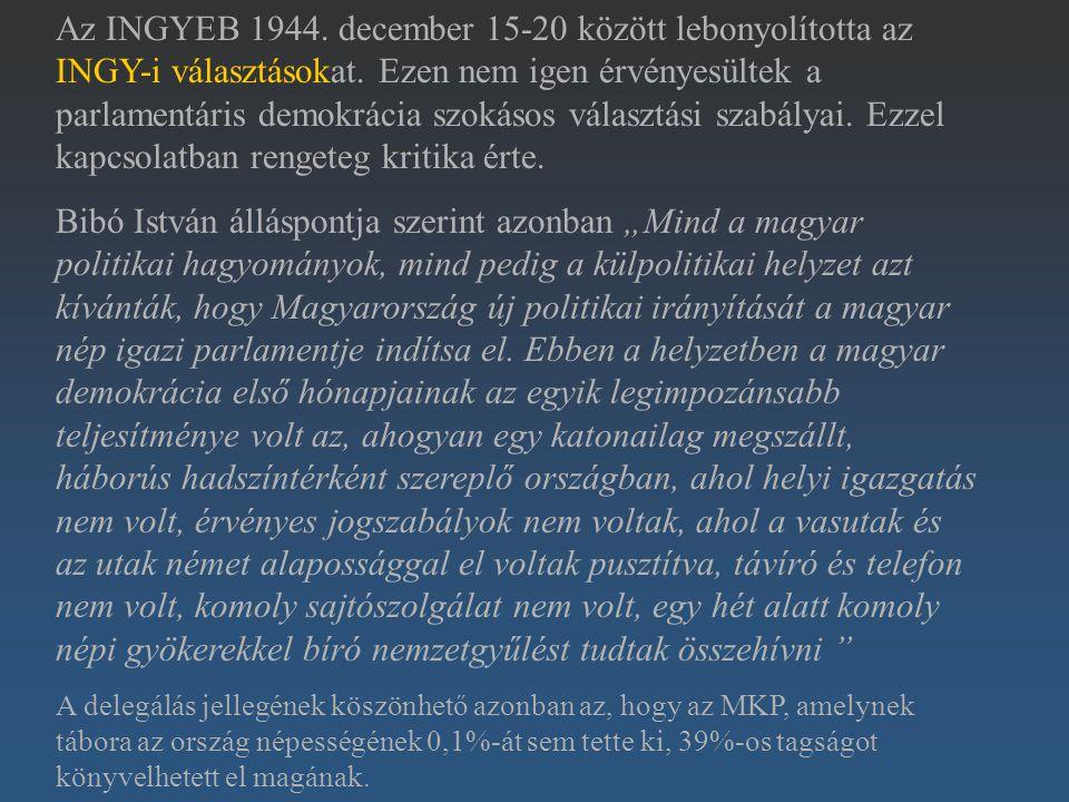 Az INGYEB 1944. december 15-20 között lebonyolította az INGY-i választásokat. Ezen nem igen érvényesültek a parlamentáris demokrácia szokásos választá
