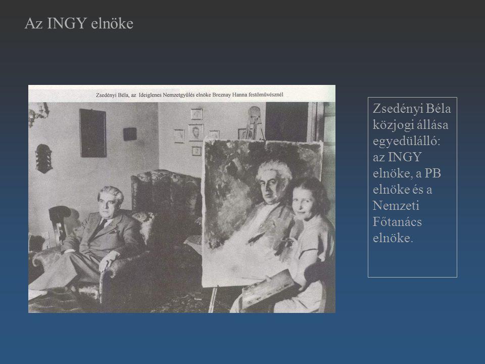 Zsedényi Béla közjogi állása egyedülálló: az INGY elnöke, a PB elnöke és a Nemzeti Főtanács elnöke. Az INGY elnöke