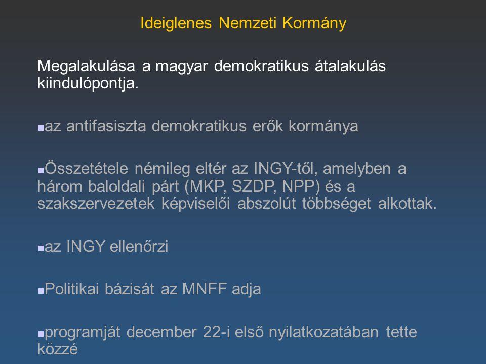 Ideiglenes Nemzeti Kormány Megalakulása a magyar demokratikus átalakulás kiindulópontja. az antifasiszta demokratikus erők kormánya Összetétele némile