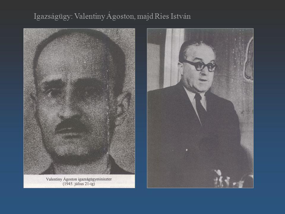 Ries István Igazságügy: Valentiny Ágoston, majd Ries István
