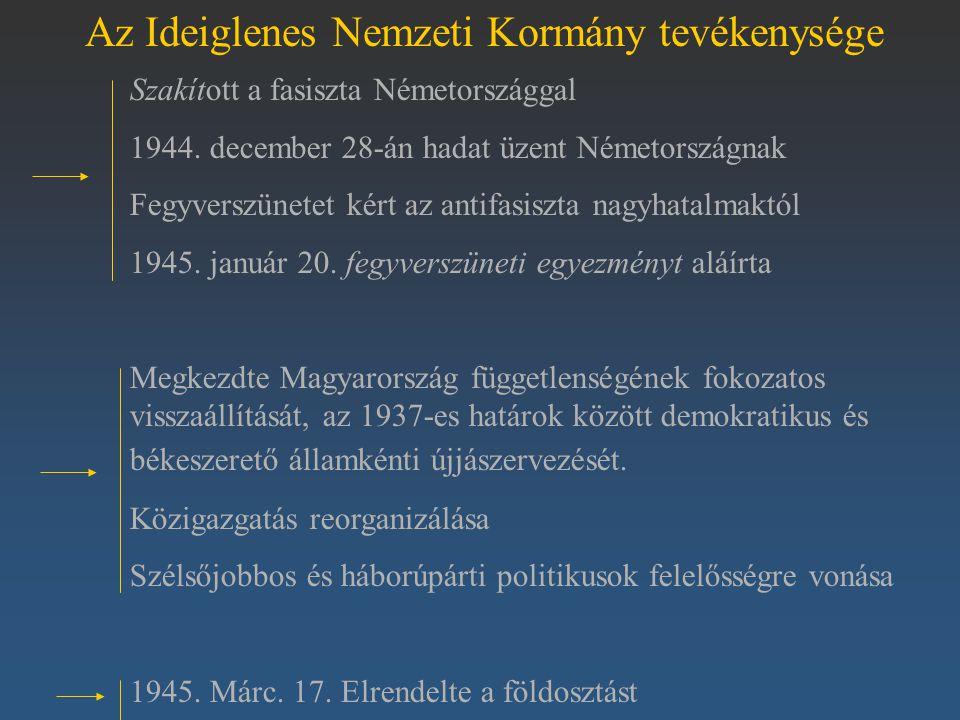 Az Ideiglenes Nemzeti Kormány tevékenysége Szakított a fasiszta Németországgal 1944. december 28-án hadat üzent Németországnak Fegyverszünetet kért az
