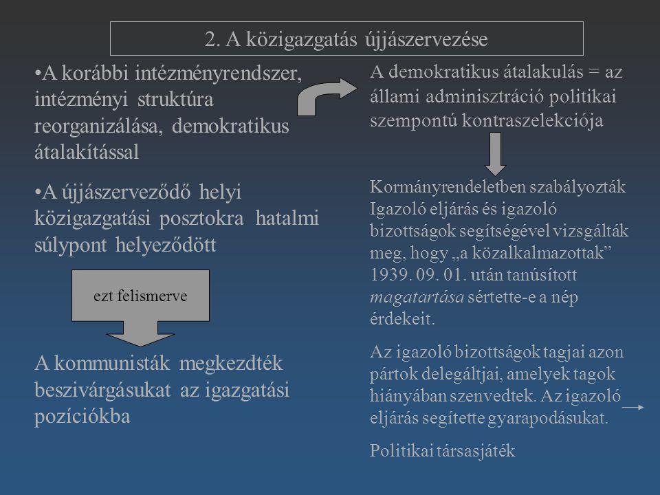 2. A közigazgatás újjászervezése A korábbi intézményrendszer, intézményi struktúra reorganizálása, demokratikus átalakítással A újjászerveződő helyi k