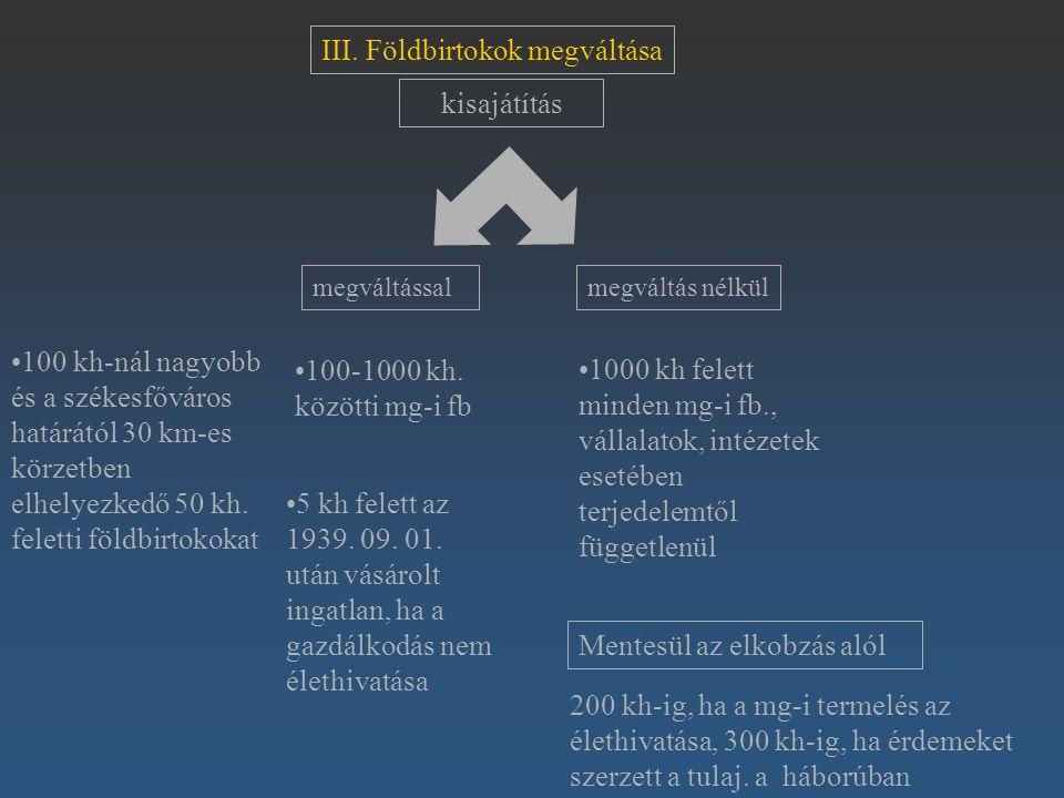 III. Földbirtokok megváltása 100 kh-nál nagyobb és a székesfőváros határától 30 km-es körzetben elhelyezkedő 50 kh. feletti földbirtokokat megváltássa