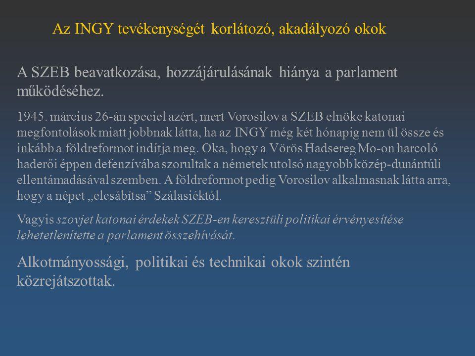 Az INGY tevékenységét korlátozó, akadályozó okok A SZEB beavatkozása, hozzájárulásának hiánya a parlament működéséhez. 1945. március 26-án speciel azé