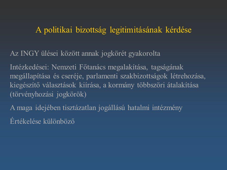 A politikai bizottság legitimitásának kérdése Az INGY ülései között annak jogkörét gyakorolta Intézkedései: Nemzeti Főtanács megalakítása, tagságának