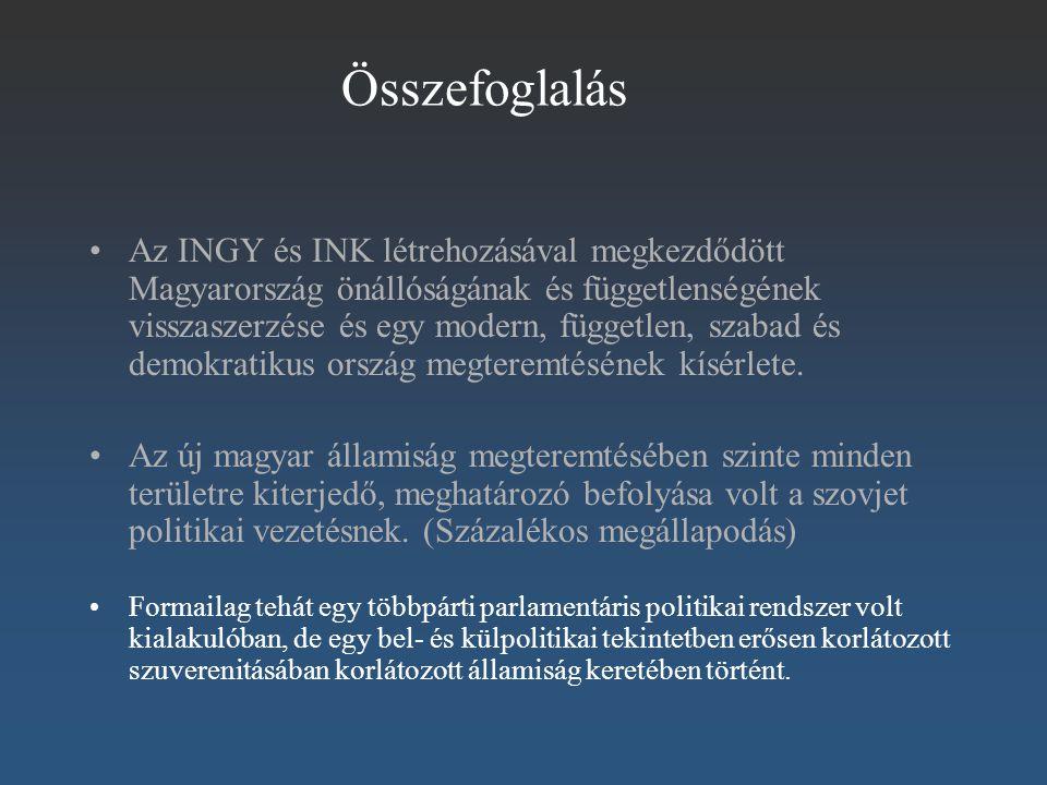Összefoglalás Az INGY és INK létrehozásával megkezdődött Magyarország önállóságának és függetlenségének visszaszerzése és egy modern, független, szaba