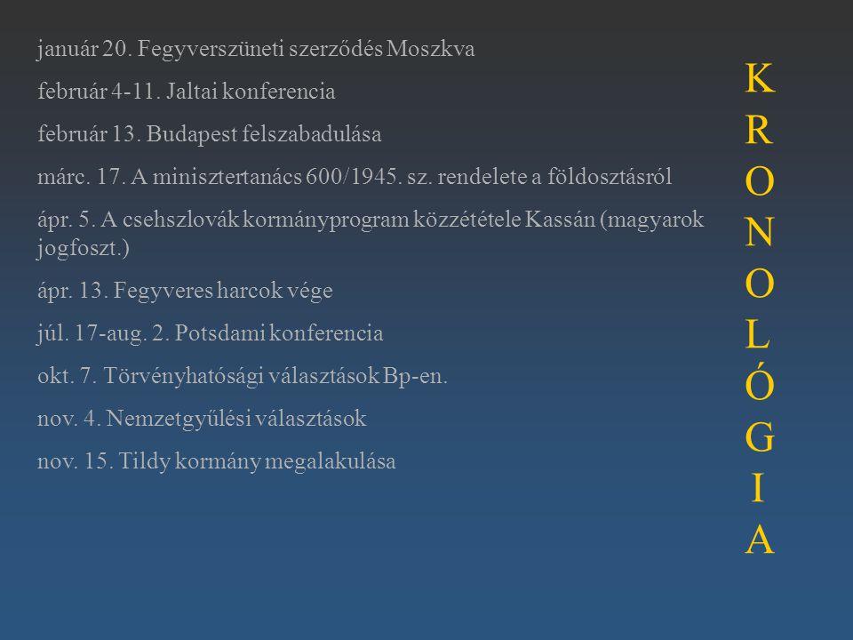 január 20. Fegyverszüneti szerződés Moszkva február 4-11. Jaltai konferencia február 13. Budapest felszabadulása márc. 17. A minisztertanács 600/1945.