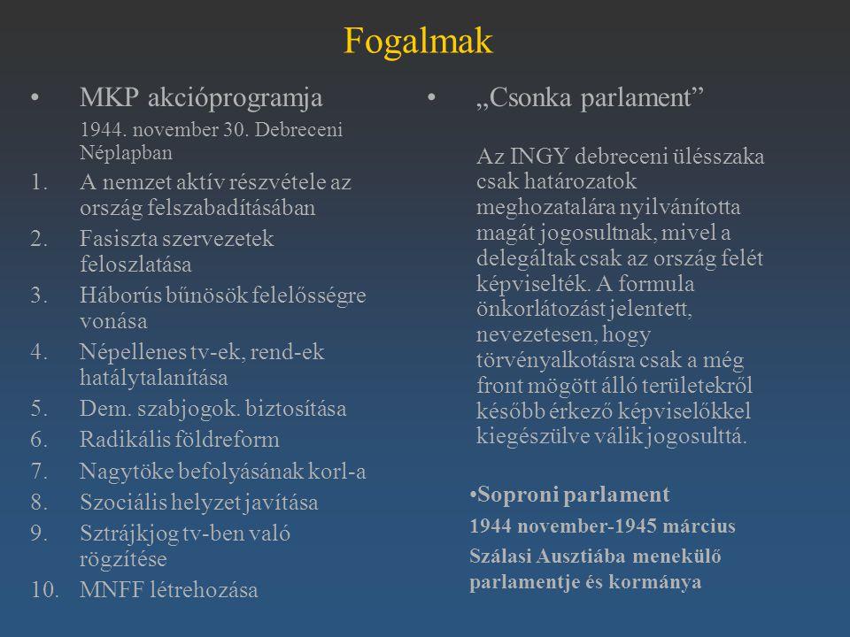 Fogalmak MKP akcióprogramja 1944. november 30. Debreceni Néplapban 1.A nemzet aktív részvétele az ország felszabadításában 2.Fasiszta szervezetek felo