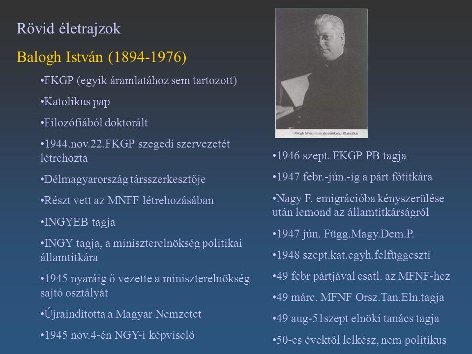 Rövid életrajzok Balogh István (1894-1976) FKGP (egyik áramlatához sem tartozott) Katolikus pap Filozófiából doktorált 1944.nov.22.FKGP szegedi szerve