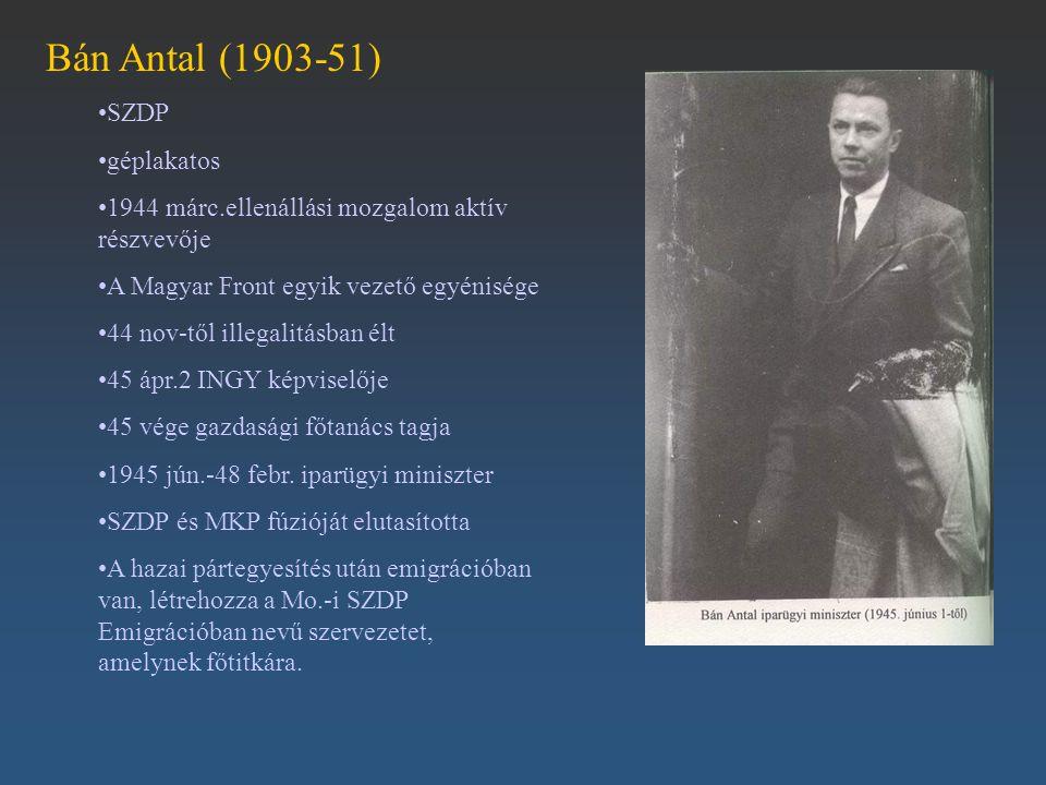 Bán Antal (1903-51) SZDP géplakatos 1944 márc.ellenállási mozgalom aktív részvevője A Magyar Front egyik vezető egyénisége 44 nov-től illegalitásban é